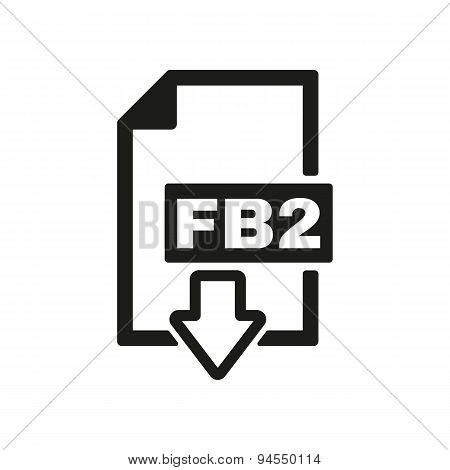 The Fb2 Icon. File Format Symbol. Flat
