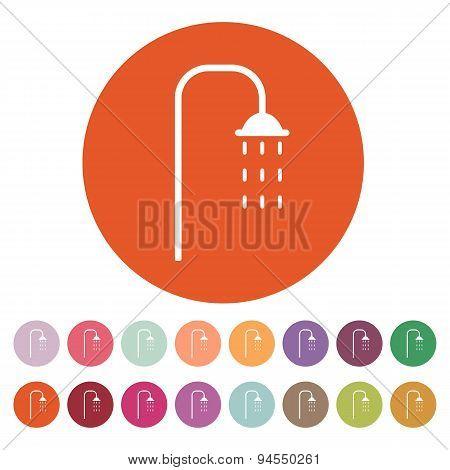 The Shower Icon. Bathroom Symbol. Flat