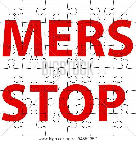 Background  puzzle Stop Mers Corona Virus sign.  Vector Illustra