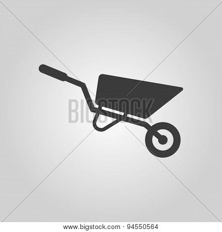 The Wheelbarrow Icon. Barrow Symbol. Flat