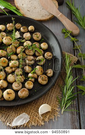Salad Of Small Mushrooms And Herbs
