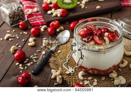 Domestic cherry yogurt