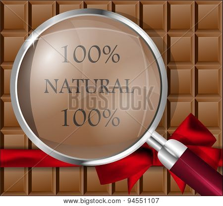 Chocolate Bar With A Magnifying Glass. Vector Illustration.