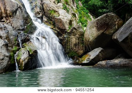 Deep Forest Small Tropical Waterfall