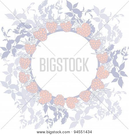 Spring background, wreath with leaves. Round banner for text. ripe raspberry on white background. Sk