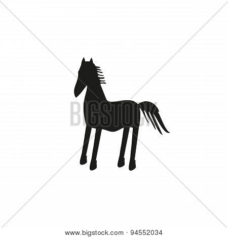 Black horse silhouette isolated on background