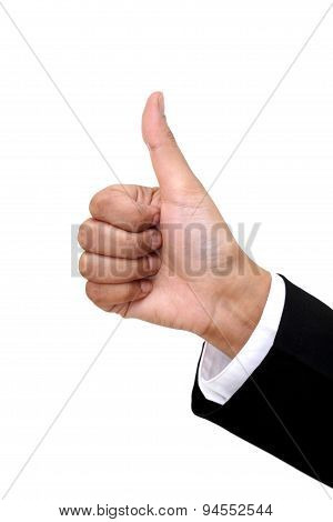 Businesswoman Hand Shows Thumbs Up