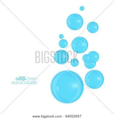 Abstract background with blue soap bubbles