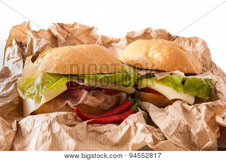 Sandwiches On A Paper