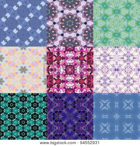 Set of Glass Mosaic Kaleidoscopic Seamless Generated Textures