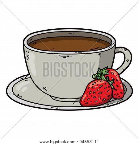 Tea cup strawberry