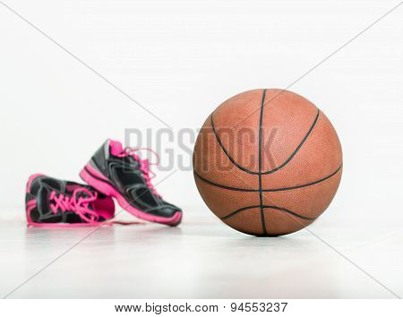 Ball And Sneakers For Basket