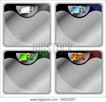 Bathroom Scales Of Different Kinds. Vector Illustration.