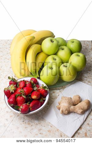 Still Life Of Bananas, Apples, Strawberries And Ginger.