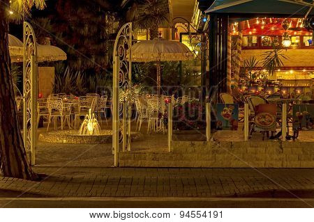 Evening at Lido di Jesolo street, Adriatic sea, venetian Riviera