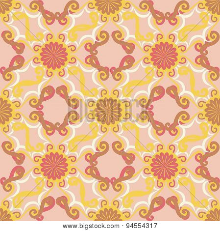 Seamless pattern. Decorative sun. Pink background.