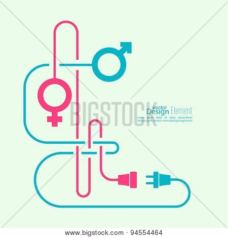 Abstract background with male and female symbols