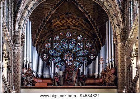 Pipe Organ In Saint Catharine Church. Eindhoven, Netherlands