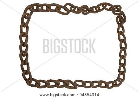 The frame of an old rusty iron chain. Border image chain isolated on white.