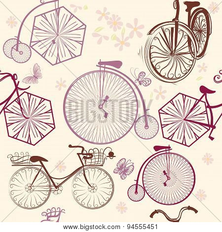 Seamless Pattern With Bicycles In Retro Style