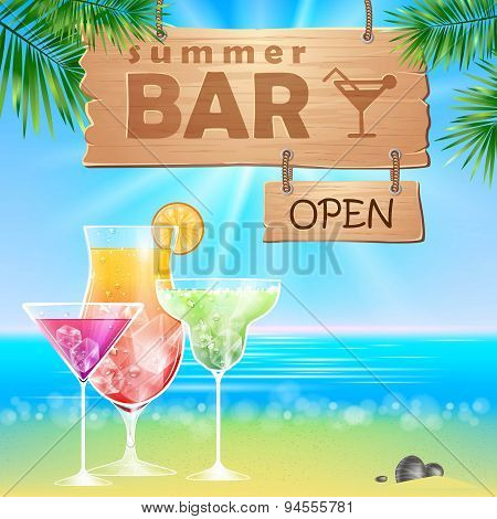 Summer Seaside View Poster. Cocktails Bar