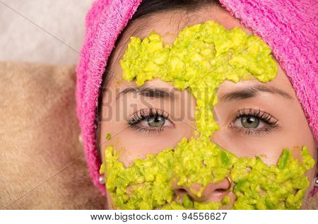 Closeup woman facial treatment spa