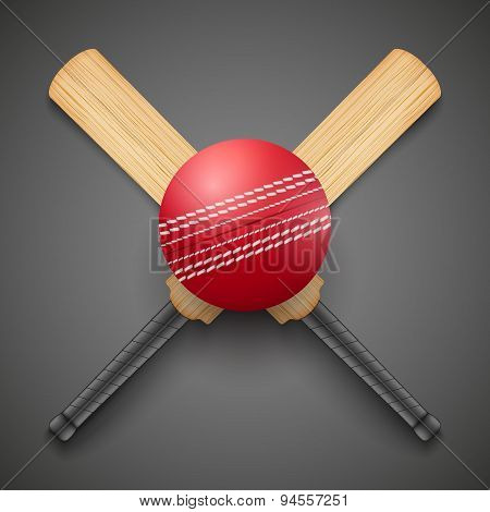 Vector illustration of cricket leather ball and wooden bats.