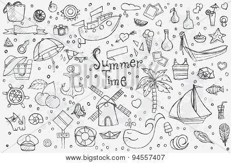 Big Hand Drown Set On White Background Of Summer Doodles With Black Outlines
