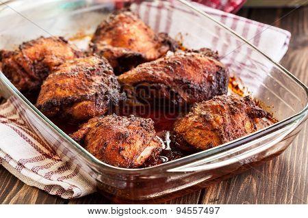 Roasted Chicken Drumsticks In Casserole Dish