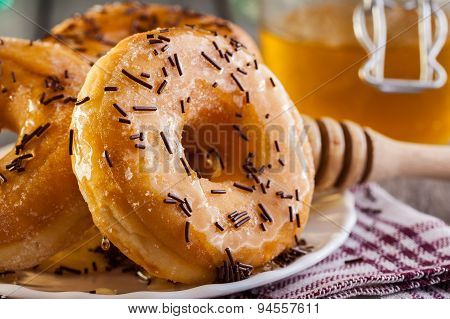 Breakfast With Donuts And Honey