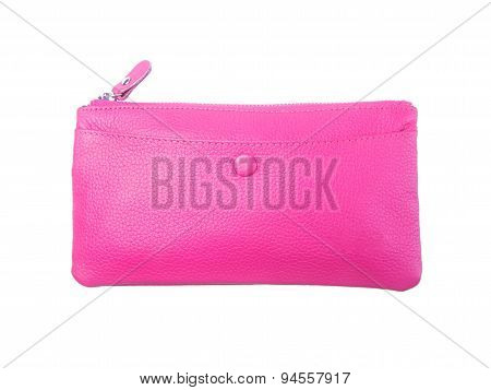Wallet Or Purse Woman (pink Colour) On A Background.