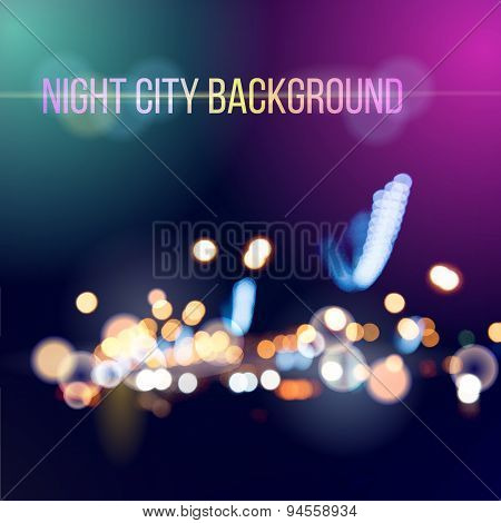 Blurred defocused lights of city traffic. Vector background.