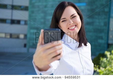 Funny Business Woman Making Selfie Photo On Smartphone