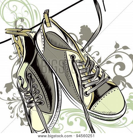 Fashion Background With Sports Boots