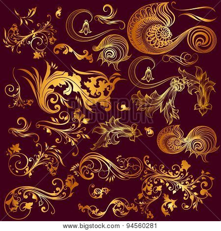 Collection Of Vector Ornaments In Gold