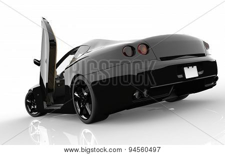 Back Of A Generic Black Sport Car
