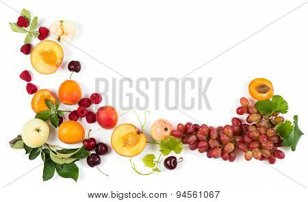 View From Above Of Colorful Fruits Frame