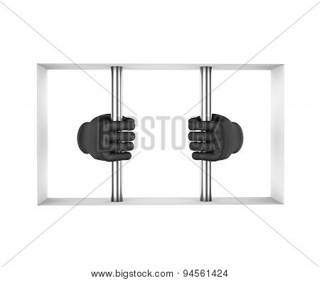 Hands In Black Gloves Decompress The Prison Bars. 3D Render. White Background.
