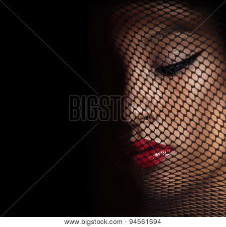 Portrait Beauty Woman's Face Below Black Veil