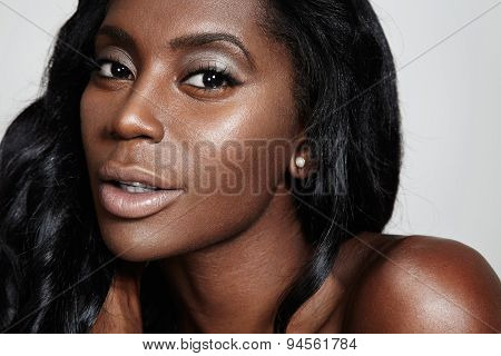 Black Woman With A Nude Makeup