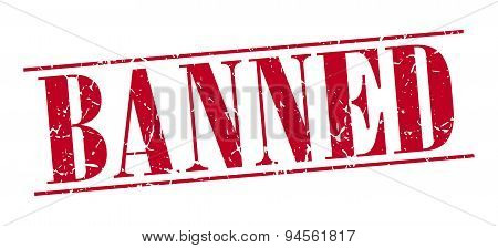 Banned Red Grunge Vintage Stamp Isolated On White Background