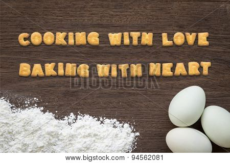 Letter Biscuits Cooking And Baking Quote On Kitchen Table Background