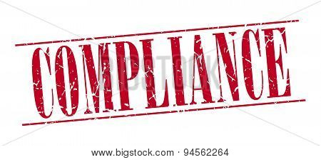 Compliance Red Grunge Vintage Stamp Isolated On White Background