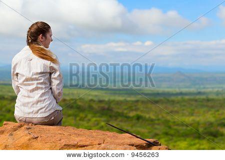 Woman Enjoying Savanna Views
