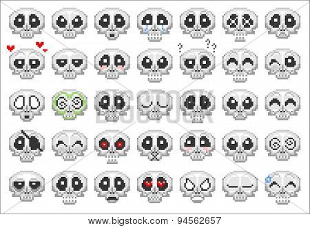 Pixel Skull Icons Set