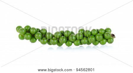 Green Peppercorns Isolated On The White Background