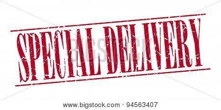 Special Delivery Red Grunge Vintage Stamp Isolated On White Background