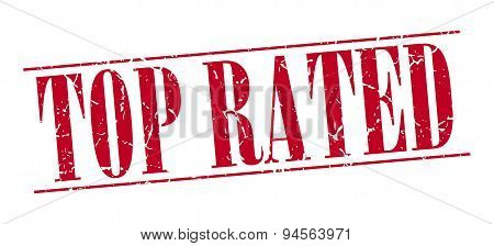 Top Rated Red Grunge Vintage Stamp Isolated On White Background