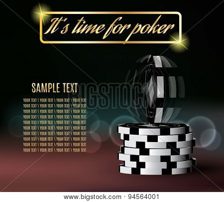 Poker chips with a twisting chip on blurred background.