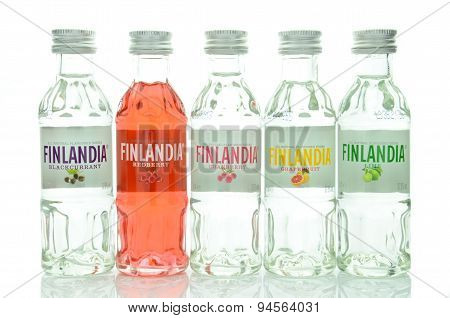 Variety of natural flavoured Finlandia vodka isolated on white background.